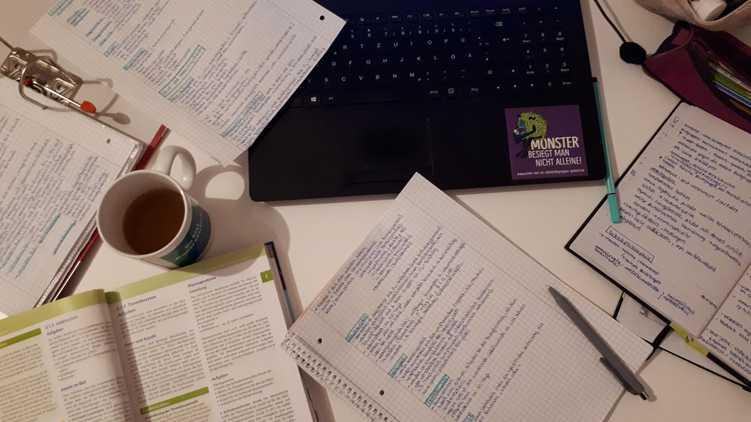Schreibtisch voll mit Lernzetteln