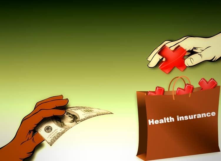 Illustration mit gebender und nehmenden Händen mit Geld bzw. dem Symbol für Gesundheit