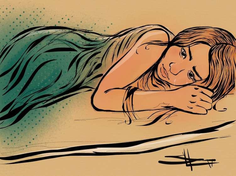 Zeichnung: Weinendes Mädchen liegt im Bett